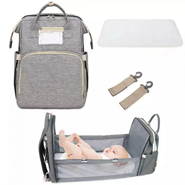 Pikkaboo - 4 In 1 Diaper Bag With Expandable Bed - Grey