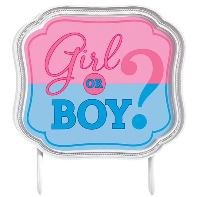 Girl or Boy Plastic Cake Topper size 4 1/2 inch x 5 inch