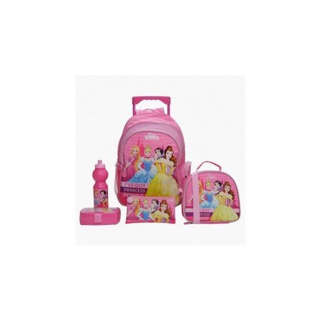 Disney Princess Printed 5-Piece Trolley Backpack Set