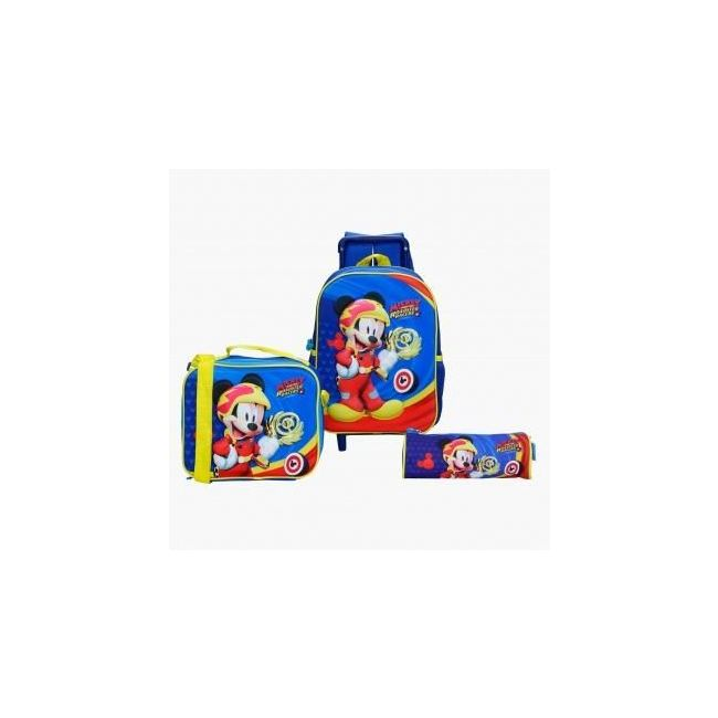 Disney Mickey Mouse Printed 3-Piece Trolley Backpack Set