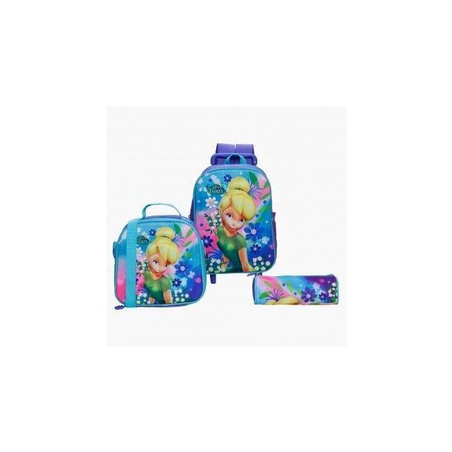 Disney Fairies Printed 3-Piece Trolley Backpack Set