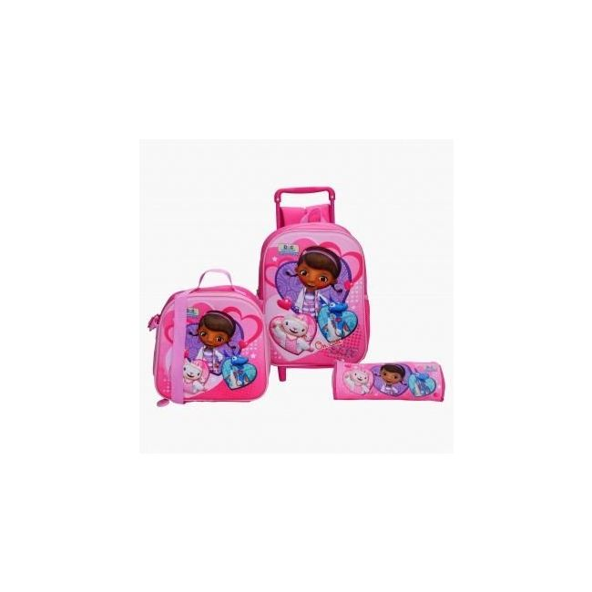 Disney Doc Mcstuffin Printed 3-Piece Trolley Backpack Set