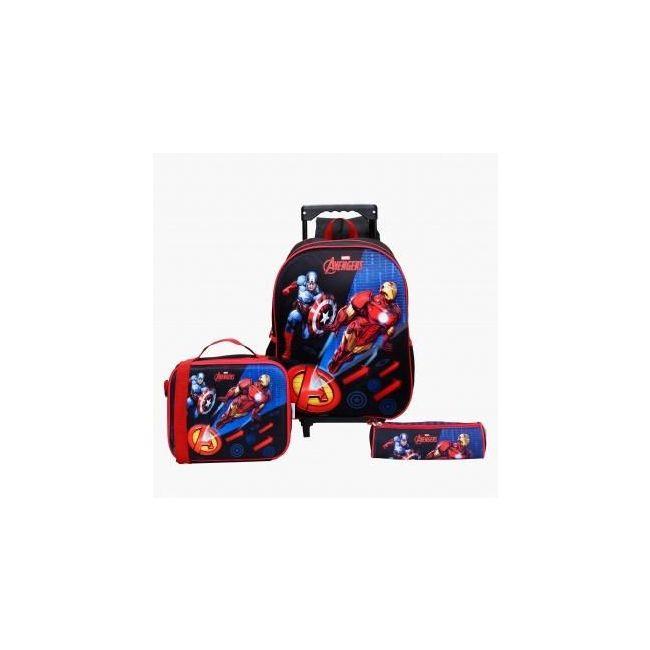Disney Avengers Printed 3-Piece Trolley Backpack Set