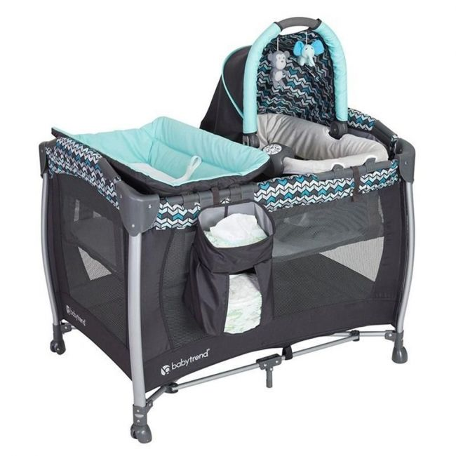 Baby Trend Grey/Blue Resort Elite Nursery Center/Playpen Laguna