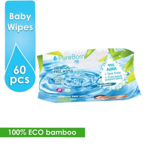 Pureborn Wipes Single Pack - 60pcs