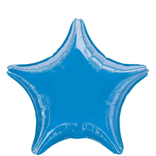 My Party Centre - Metallic Blue Star Foil Balloon - 19in