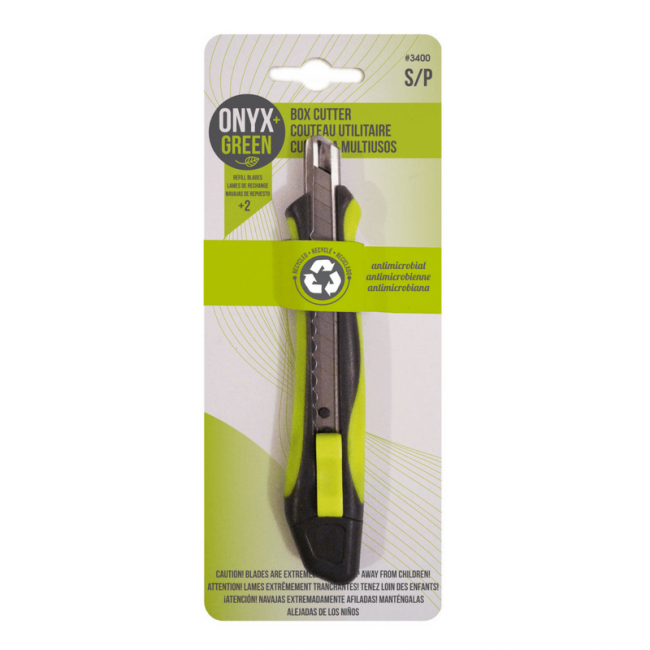 Onyx and Green Box Cutter with 5 Blades - Small