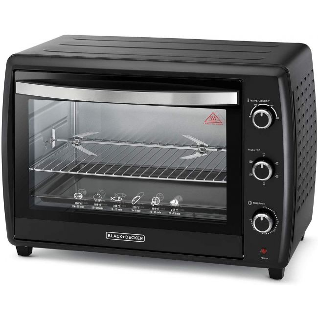 Black & Decker Double Glass Toaster Oven with Rotisserie, Black, 70 litres,Tro70Rdg-B5