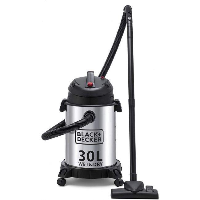 Black & Decker 1610W Wet and Dry Stainless Steel Tank Drum Vacuum Cleaner, 30 litre, Black/Silver, WV1450-B5