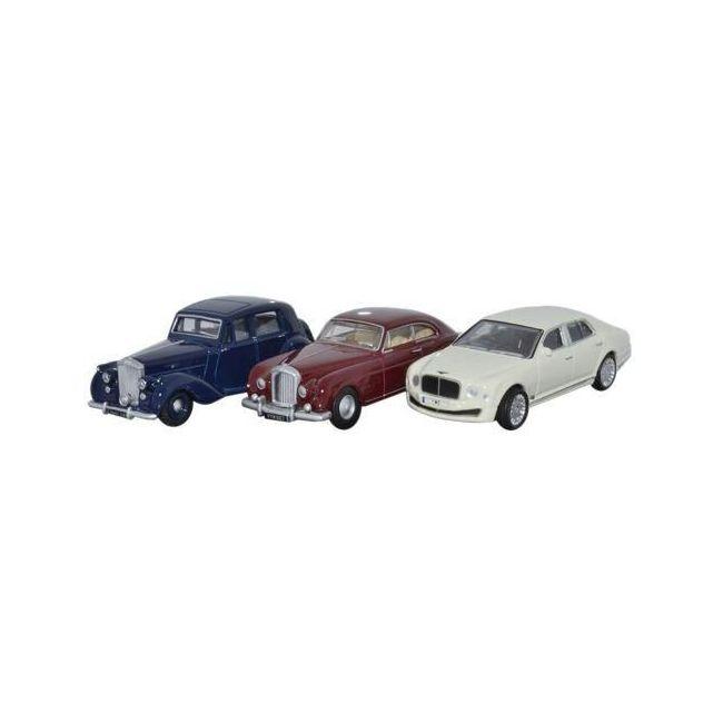 Oxford Diecast 3 Piece Bentley Set MkVI Continental Mulsanne Toy Car