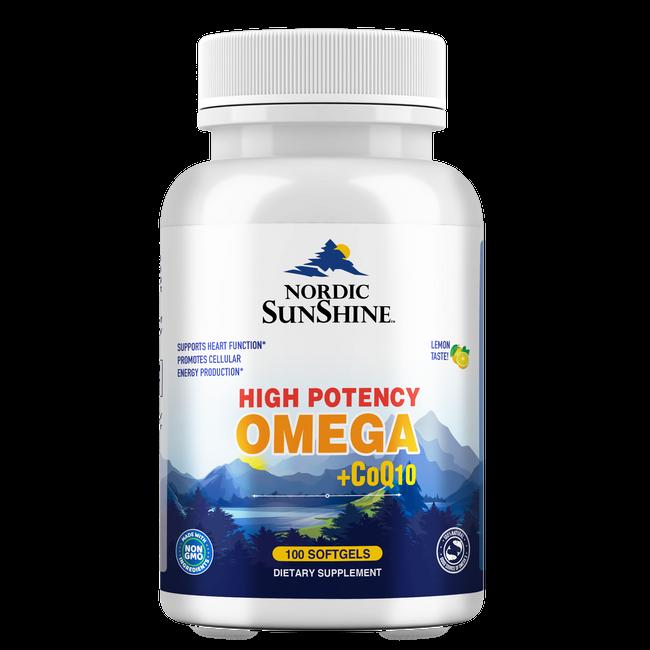 Nordic Sunshine High Potency Omega 1280mg Plus COQ10 100mg, 100 Softgels