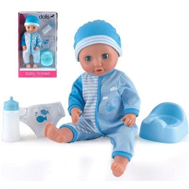 """Dollsworld Blue Baby Tinkles 38cm (15"""") Doll"""