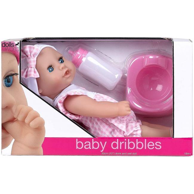 """Dollsworld Pink Baby Dribbles 30cm (12"""") Doll Set"""