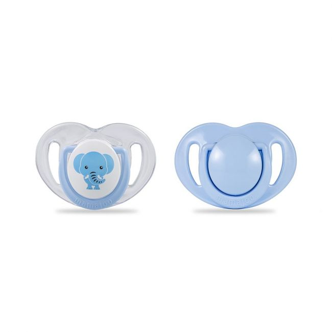 Mamajoo - 2X Silicone Orthodontic Soothers 6 M+ Elephant / Blue