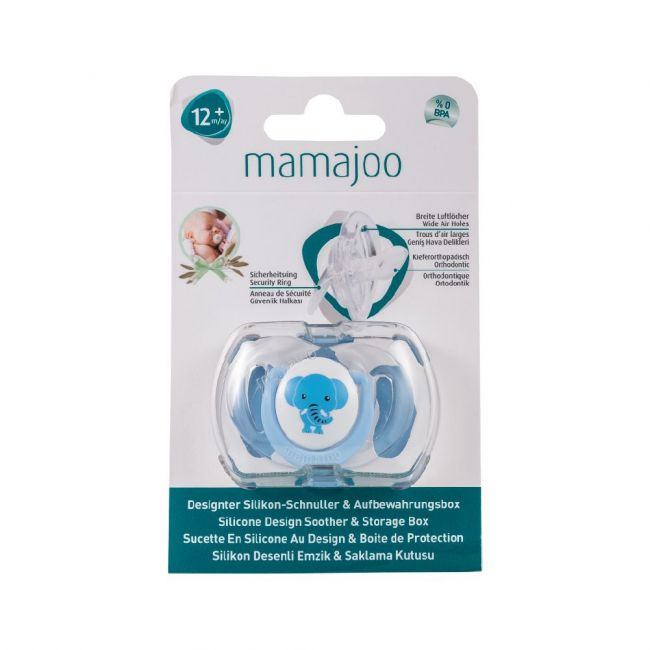 Mamajoo - 1X Silicone Orthodontic Design Soother & Storage Box 12 M+ Elephant