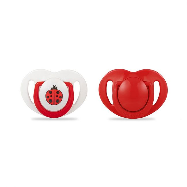 Mamajoo - 2X Silicone Orthodontic Soothers 0 M+ Red / Ladybird