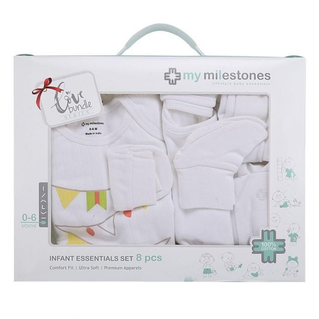My Milestones White Infant Clothing Gift Set -  8pc
