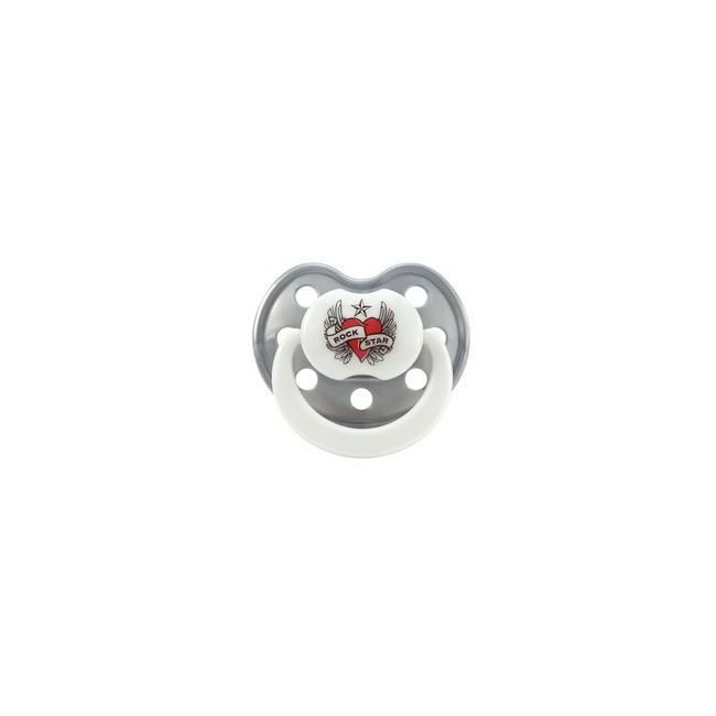 Rock Star Baby Pacifier Heart & Wings Size 1 Silicone