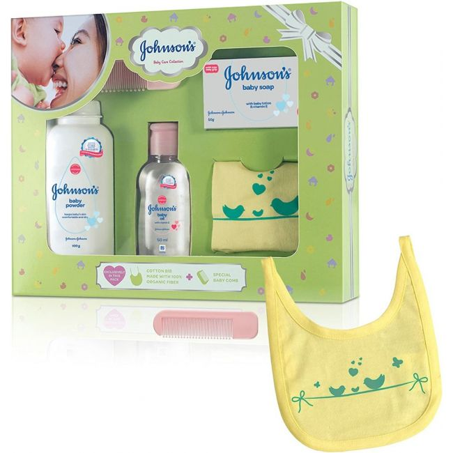 Johnson's - Baby Care Collection Baby Gift Set With Organic Cotton Bib Baby Comb 5 Piece