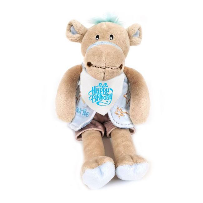 Caravaan - Dressed Camel Blue 28Cm With Happy Birthday Bandana To Neck