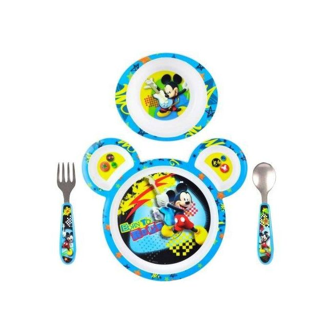 The First Years Mickey 4pc Feeding Set Polypro with Easy Grasp Flatware