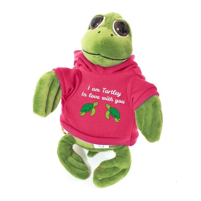 Caravaan - Cuddly Soft Toy Turtle With Trendy Pink I Am Turtley In Love With You Hoodie
