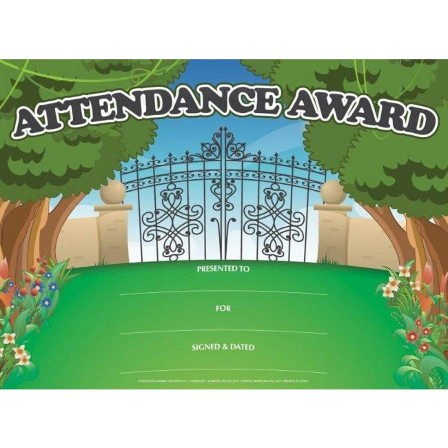 Attendance Award (Pack of 25 Certificates) By Learning Roots Book