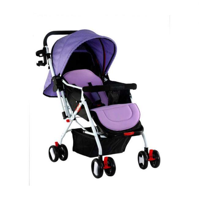 Baby Plus Stroller Cum Pram with Reversible Handle Bar - Purple