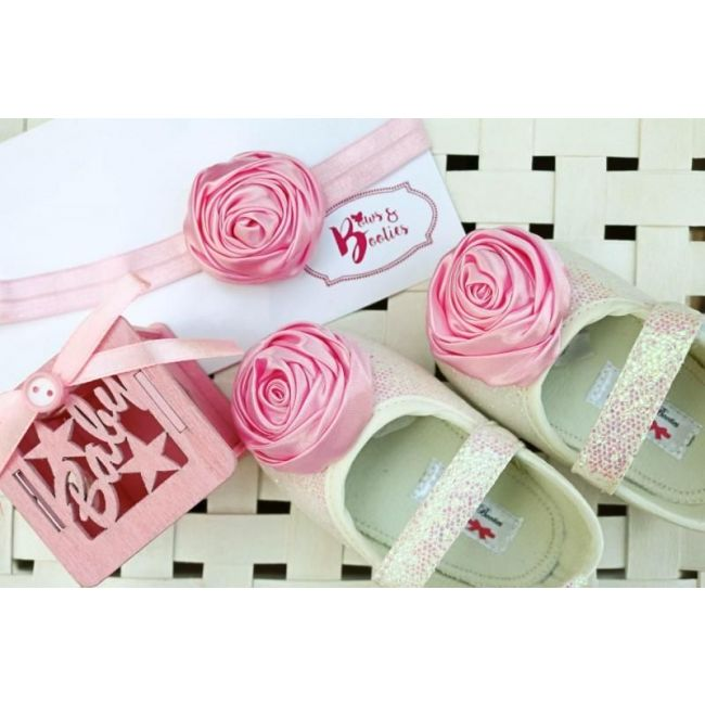 Bows & Booties Matching Headbands & Baby shoes - Baby Pink