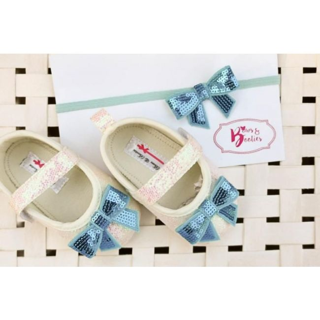 Bows & Booties Matching Headbands & Baby shoes - Blue Bow