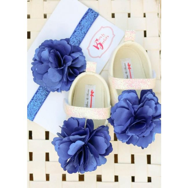 Bows & Booties Matching Headbands & Baby shoes - Blue Flower