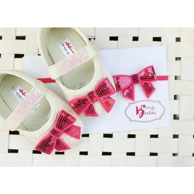 Bows & Booties Matching Headbands & Baby shoes - Fuschia Bow