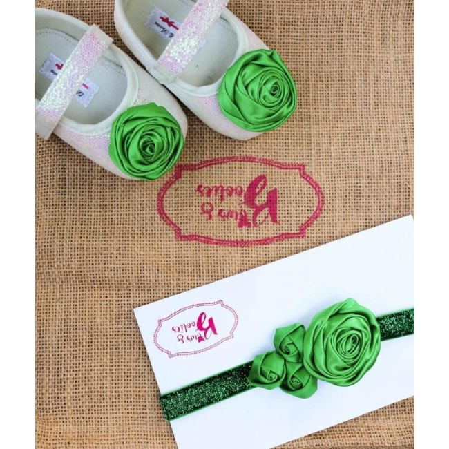 Bows & Booties Matching Headbands & Baby shoes - Green Grass