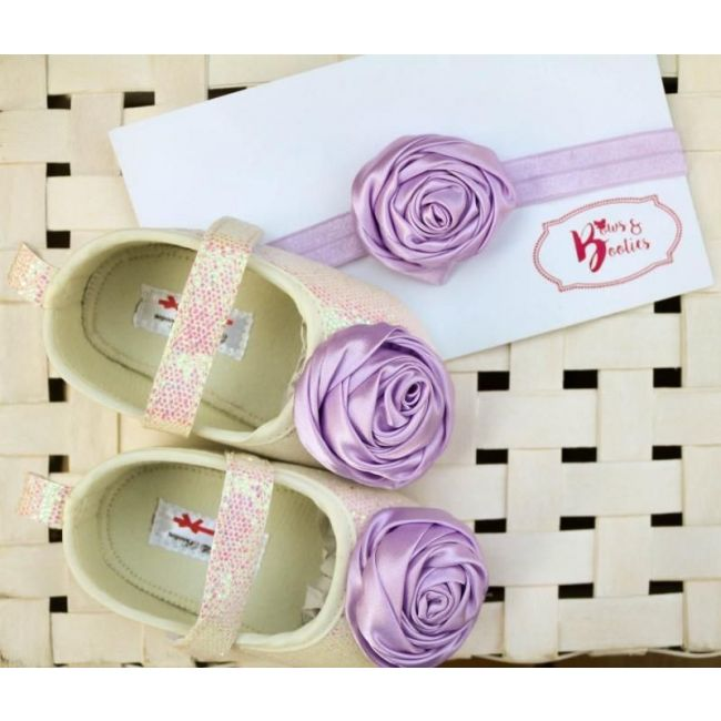 Bows & Booties Matching Headbands & Baby shoes - Lavender Rose