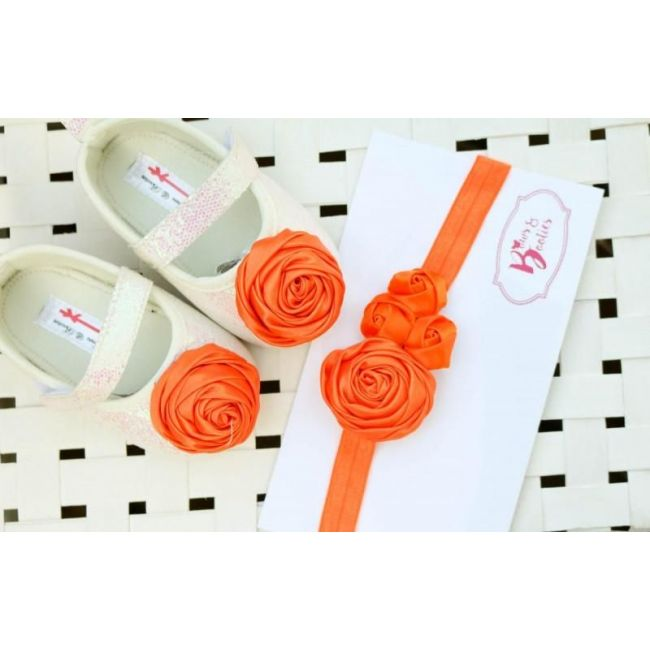 Bows & Booties Matching Headbands & Baby shoes - Orange Rose