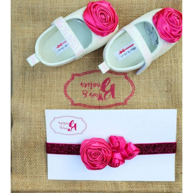 Bows & Booties Matching Headbands & Baby shoes - Pink Rose