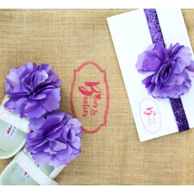 Bows & Booties Matching Headbands & Baby shoes - Purple Princess