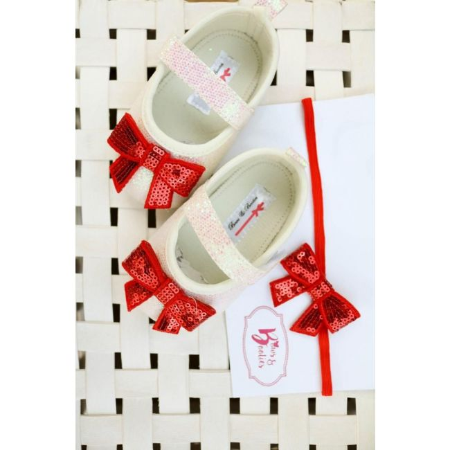 Bows & Booties Matching Headbands & Baby shoes - Redbow