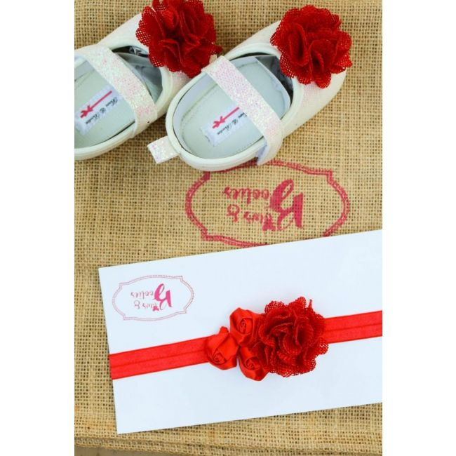Bows & Booties Matching Headbands & Baby shoes - Rouge Red