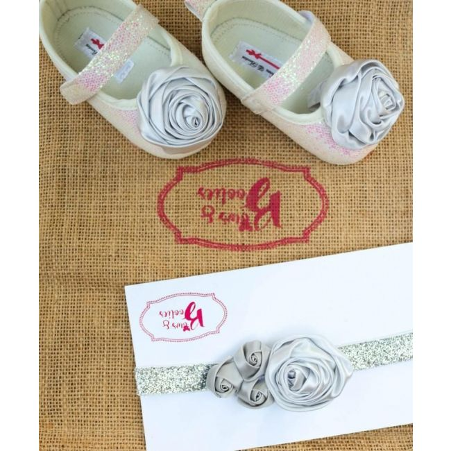 Bows & Booties Matching Headbands & Baby shoes - Silver Shine