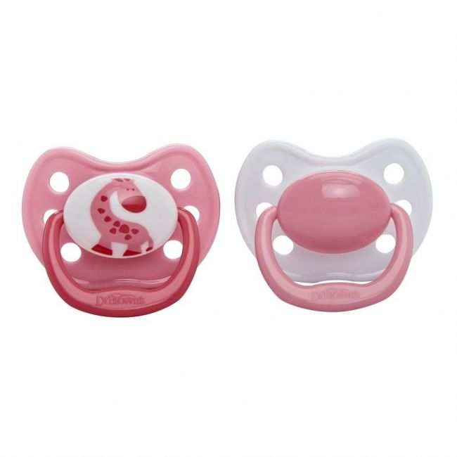 Dr Browns Pink Stage 1 One Piece Pacifier - 0 - 6m - 2pcs