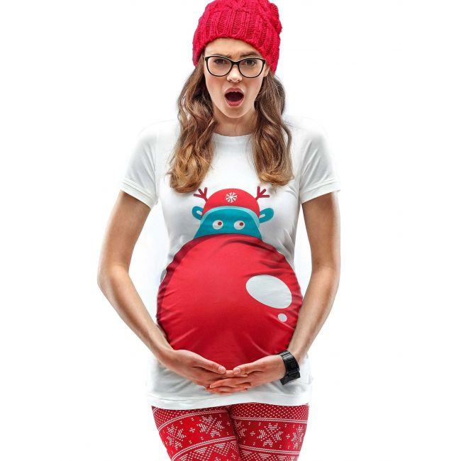 Mamagama - Rudolph's Nose Maternity Christmas T-Shirt