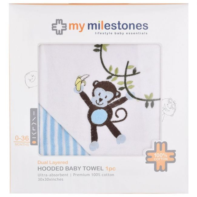 My Milestones 100% Cotton Terry Hooded Baby / Toddlers Bath Towel - Blue Stripes