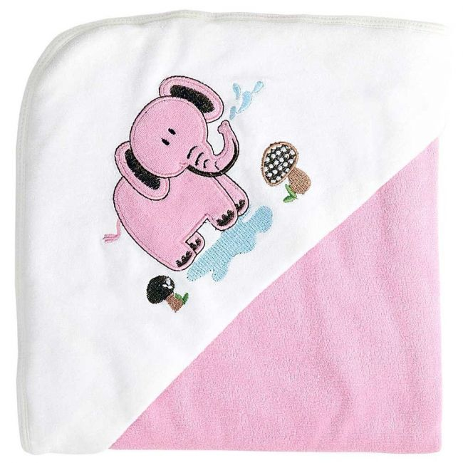 My Milestones 100% Cotton Terry Hooded Baby / Toddlers Bath Towel - Pink Solid
