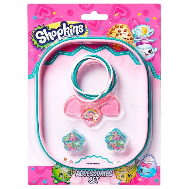 Shopkins Hair Accessory Set (Pony Band Big + Pony Band Small + Hair Claws)Green & LightPink