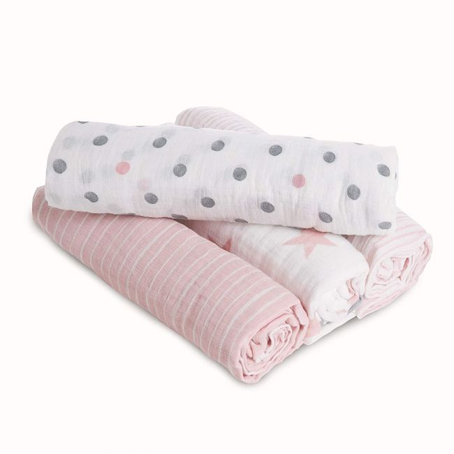 Essentials 4-Pack Classic Muslin Swaddles Doll
