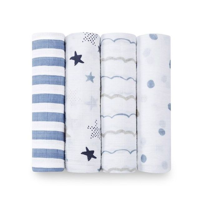 Aden + Anais - Classic 4 Pack Swaddles Rock Star