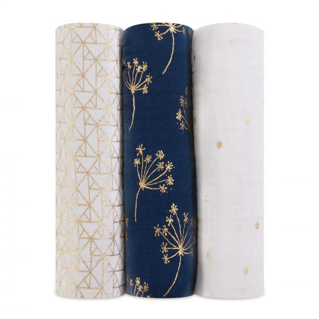 Aden + Anais - Classic Metallic 3 Pack Swaddles Gold Deco