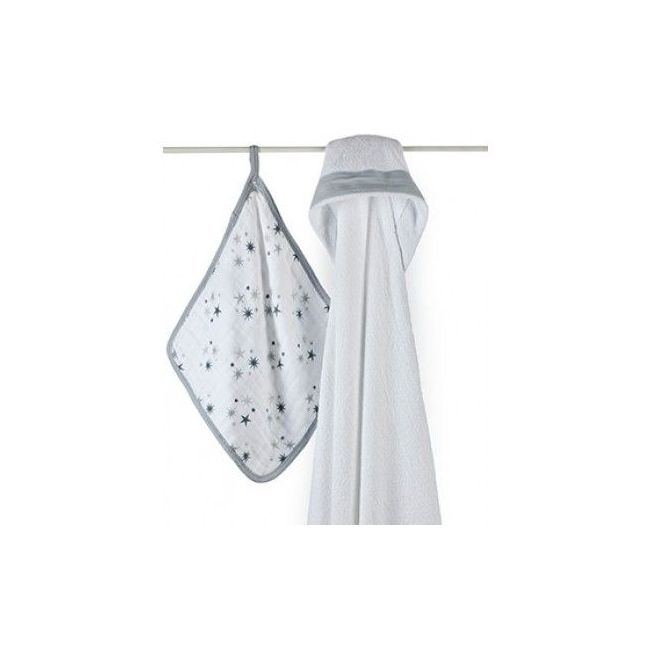 Aden + Anais - Hooded Towel And Wash Cloth Set Twinkle