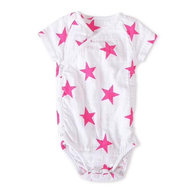 Aden + Anais - Long Sleeved Body Suit Medium Pink Star 0 3 M
